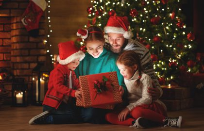 Christmas,Photo,Of,Surprised,Family