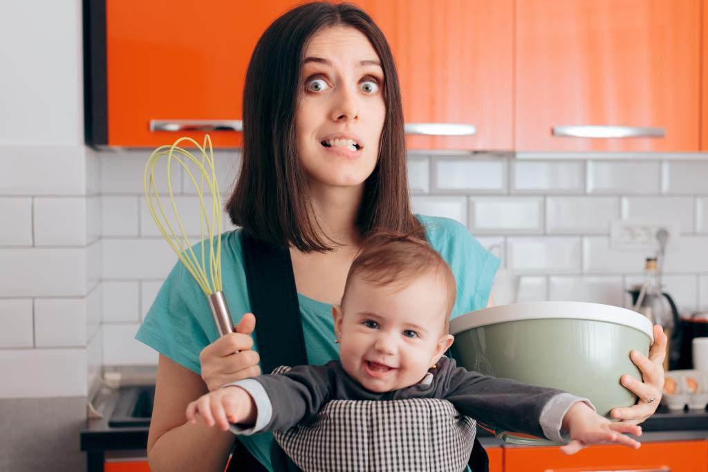 Mom Overwhelmed Trying to Cook with Baby